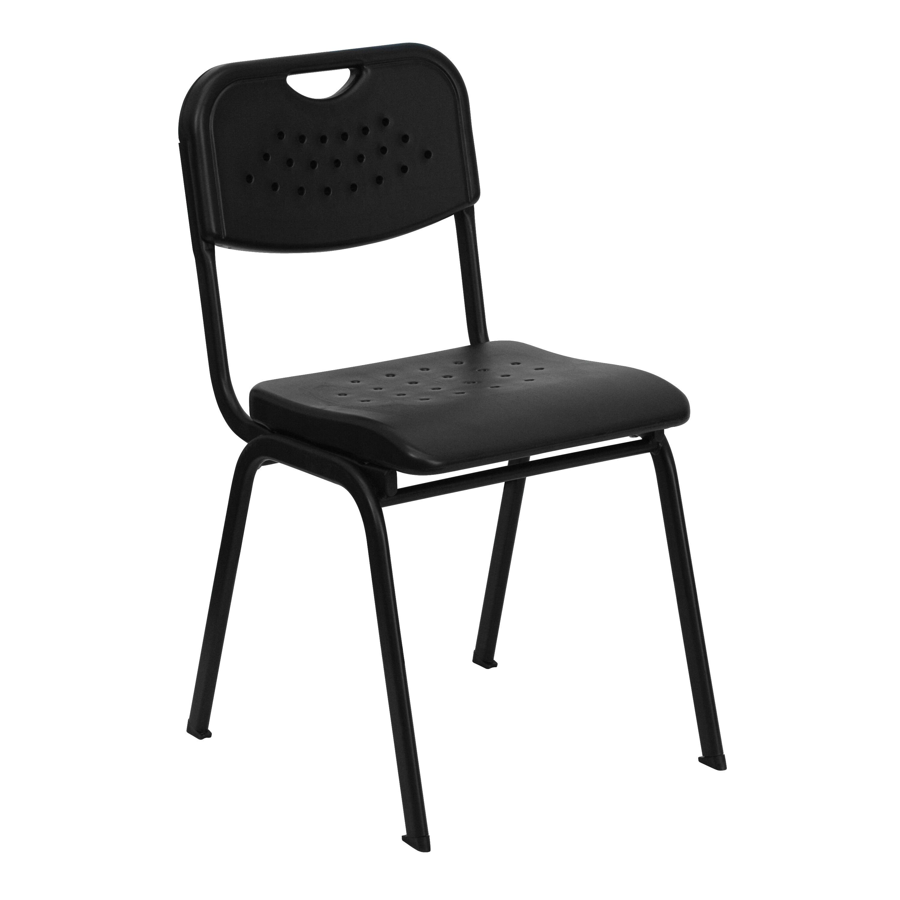 Merveilleux HERCULES Series 880 Lb. Capacity Black Plastic Stack Chair With Black Frame
