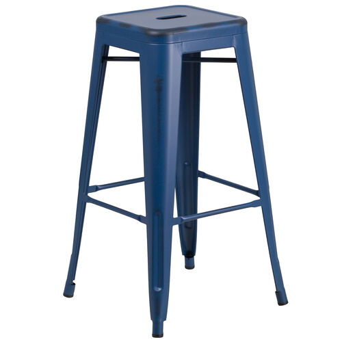 "Our Commercial Grade 30"" High Backless Distressed Antique Blue Metal Indoor-Outdoor Barstool is on sale now."