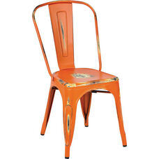 OSP Designs Bristow Stackable Armless Metal Chair - Set of 2 - Antique Orange
