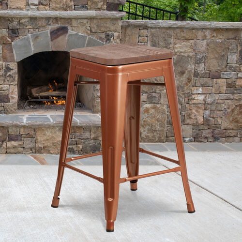 """24"""" High Backless Copper Counter Height Stool with Square Wood Seat"""