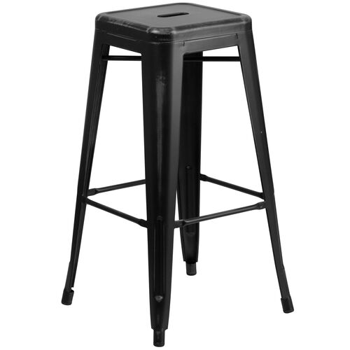 """Our Commercial Grade 30"""" High Backless Distressed Black Metal Indoor-Outdoor Barstool is on sale now."""