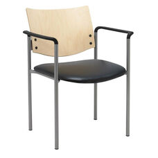 1300 Series Stacking Guest Armchair with Natural Wood Back - Vinyl Seat