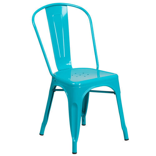 Our Crystal Teal-Blue Metal Indoor-Outdoor Stackable Chair is on sale now.