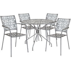 "Agostina Series 35.25"" Round Antique Silver Indoor-Outdoor Steel Patio Table with 4 Stack Chairs"