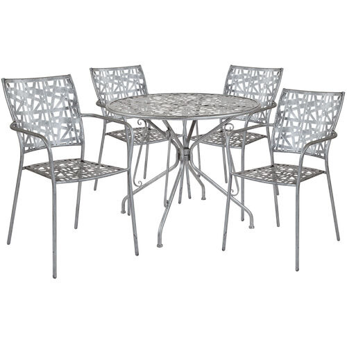 """Our Agostina Series 35.25"""" Round Antique Silver Indoor-Outdoor Steel Patio Table with 4 Stack Chairs is on sale now."""