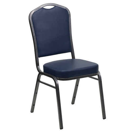 Our HERCULES Series Crown Back Stacking Banquet Chair in Navy Vinyl - Silver Vein Frame is on sale now.
