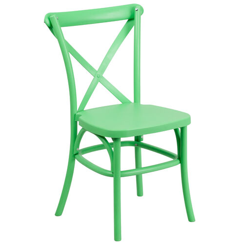 Our HERCULES Series Green Resin Indoor-Outdoor Cross Back Chair with Steel Inner Leg is on sale now.