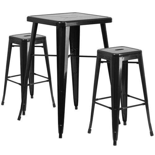 """Our Commercial Grade 23.75"""" Square Black Metal Indoor-Outdoor Bar Table Set with 2 Square Seat Backless Stools is on sale now."""