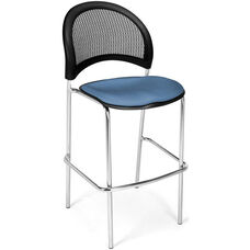 Moon Cafe Height Chair with Fabric Seat and Chrome Frame - Cornflower Blue