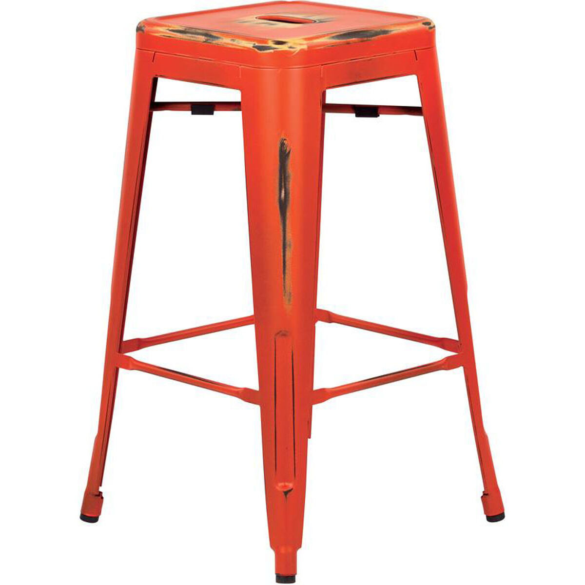 Set Of 4 Orange Metal Barstool Brw3026a4 Aor Stackchairs4lesscom