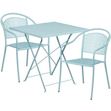 """Commercial Grade 28"""" Square Sky Blue Indoor-Outdoor Steel Folding Patio Table Set with 2 Round Back Chairs"""