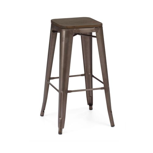 Our Dreux Stackable Rustic Matte Steel Barstool with Elm Wood Seat - Set of 4 is on sale now.