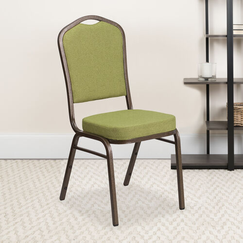 Our HERCULES Series Crown Back Stacking Banquet Chair in Moss Fabric - Gold Vein Frame is on sale now.