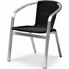Bermuda Stackable Dining Arm Chair with Polished Aluminum Frame - Black