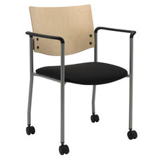 1300 Series Stacking Guest Armchair with Natural Wood Back and Casters - Grade 3 Upholstered Seat