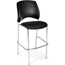 Stars Cafe Height Chair with Fabric Seat and Chrome Frame - Black