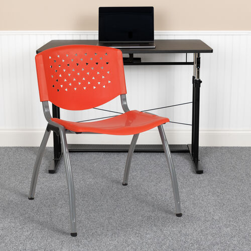 Our HERCULES Series 880 lb. Capacity Orange Plastic Stack Chair with Titanium Gray Powder Coated Frame is on sale now.
