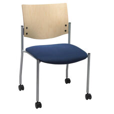 1300 Series Stacking Armless Guest Chair with Natural Wood Back and Casters - Grade 2 Upholstered Seat