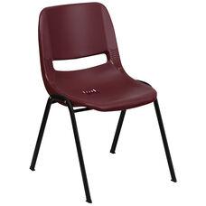 HERCULES Series 880 lb. Capacity Burgundy Ergonomic Shell Stack Chair