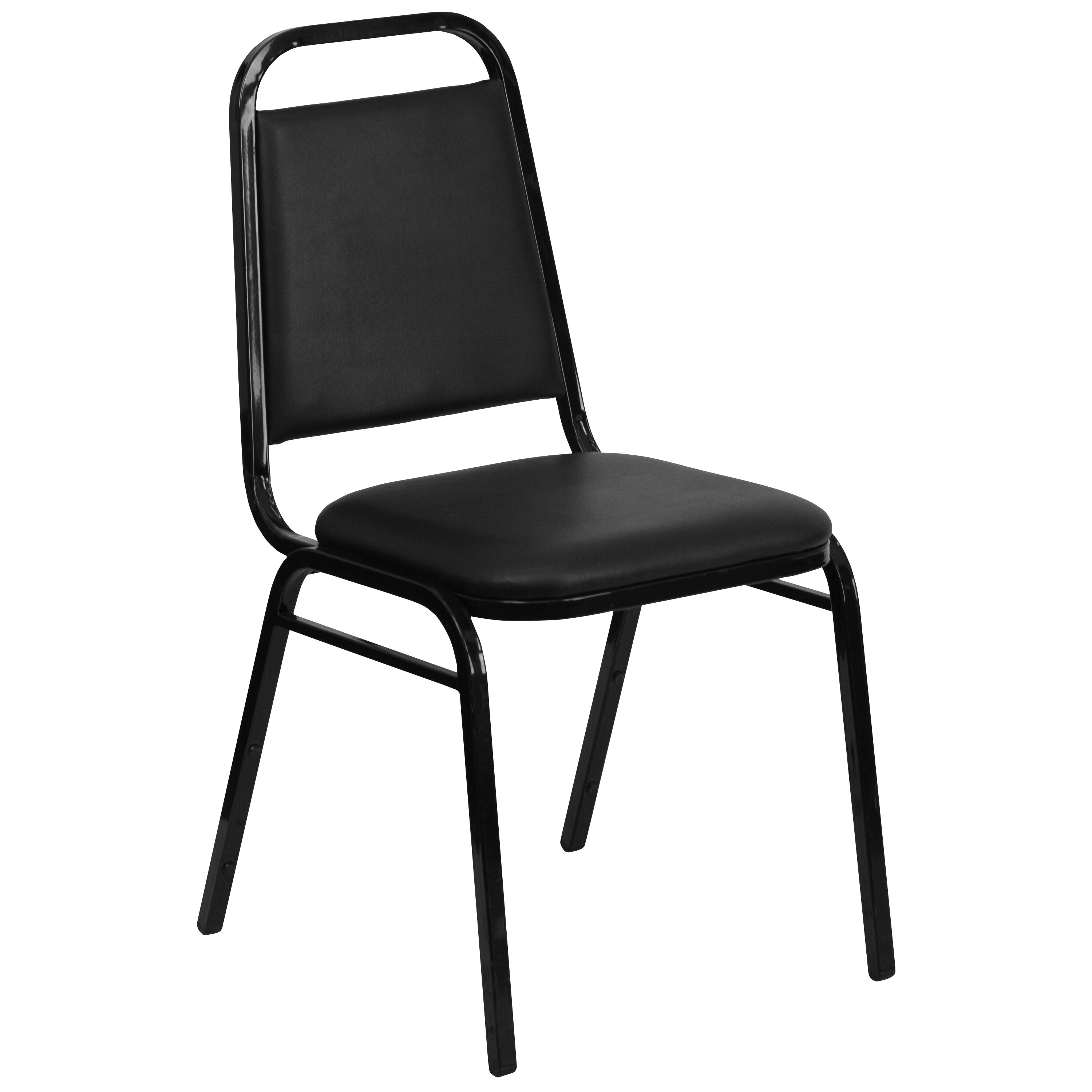 ... Our HERCULES Series Trapezoidal Back Stacking Banquet Chair In Black  Vinyl   Black Frame Is On ...
