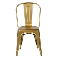 Oscar Steel Powder Coated Stackable Armless Chair - Set of 4 - Gold