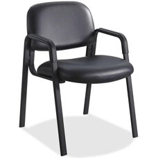 Safco Cava Urth Straight Leg Stacking Guest Armchair with Upholstered Back and Seat - Black Vinyl
