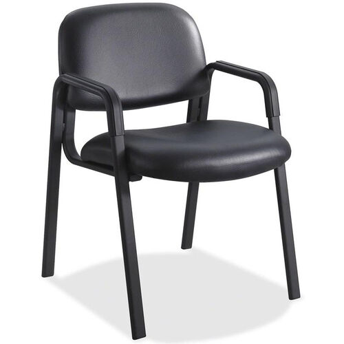 Our Safco Cava Urth Straight Leg Stacking Guest Armchair with Upholstered Back and Seat - Black Vinyl is on sale now.