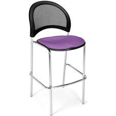 Moon Cafe Height Chair with Fabric Seat and Chrome Frame - Plum