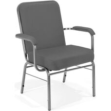 Comfort Class Big & Tall 500 lb. Capacity Stack Chair with Arms - Gray Fabric