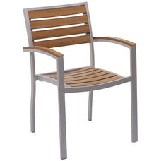 Cedar Key Outdoor Stackable Arm Chair with Faux Teak - Silver Frame