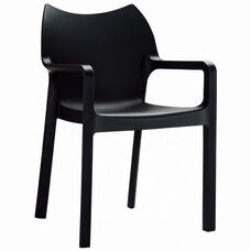 Diva Outdoor Resin Stackable Dining Arm Chair - Black