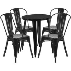 """Commercial Grade 24"""" Round Black Metal Indoor-Outdoor Table Set with 4 Cafe Chairs"""
