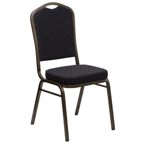 Our HERCULES Series Crown Back Stacking Banquet Chair in Black Patterned Fabric - Gold Vein Frame is on sale now.