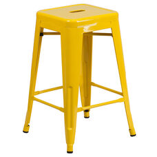 "Commercial Grade 24"" High Backless Yellow Metal Indoor-Outdoor Counter Height Stool with Square Seat"