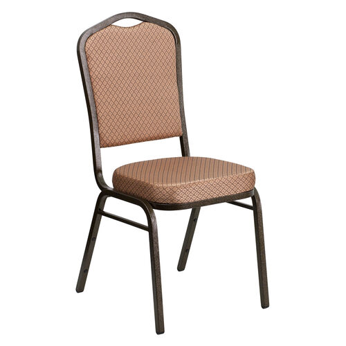 Our HERCULES Series Crown Back Stacking Banquet Chair in Gold Diamond Patterned Fabric - Gold Vein Frame is on sale now.