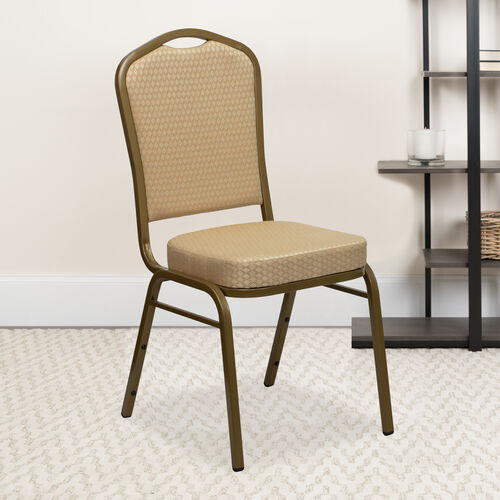 Our HERCULES Series Crown Back Stacking Banquet Chair in Beige Patterned Fabric - Gold Frame is on sale now.