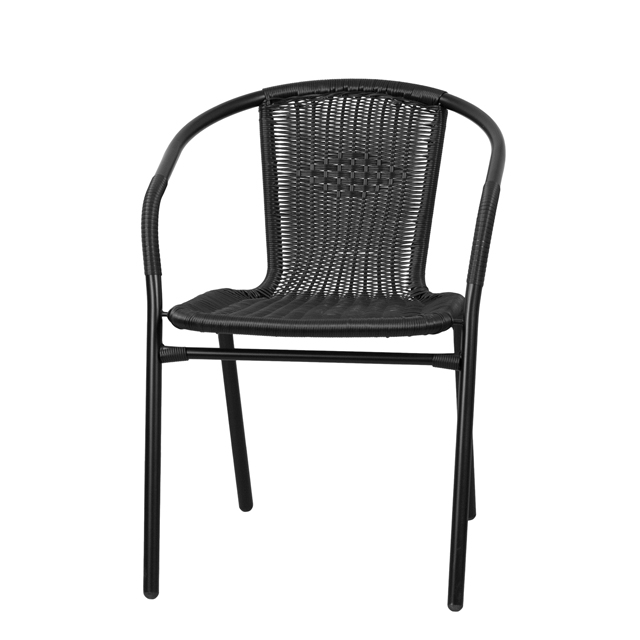 black rattan indoor outdoor restaurant stack chair. Black Bedroom Furniture Sets. Home Design Ideas